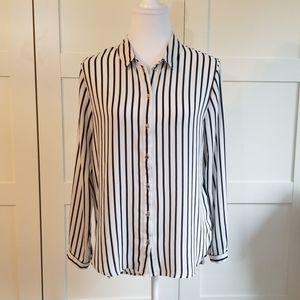 H&M black and white stripe blouse